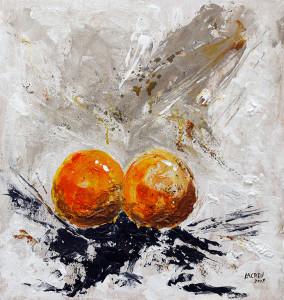Dos naranjas sobre blanco 58x55-w